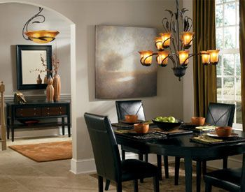 Charming Ideas For Dining Room. Note Complimentary Chandeliers In Dining And Living