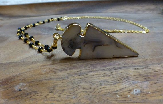 Agate Arrowhead Necklace by HastonKing on Etsy