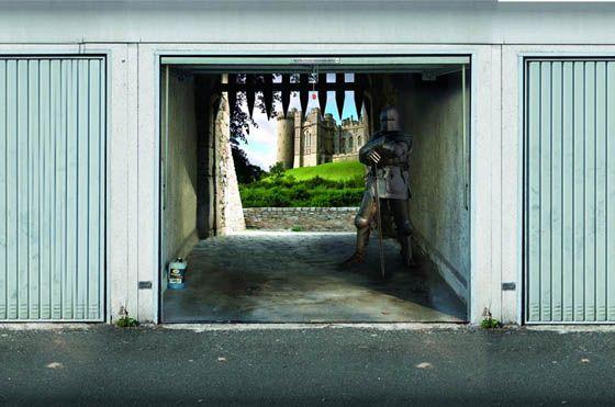 Garage Door Stickers 3d garage door murals | style your garage: creative 3d garage