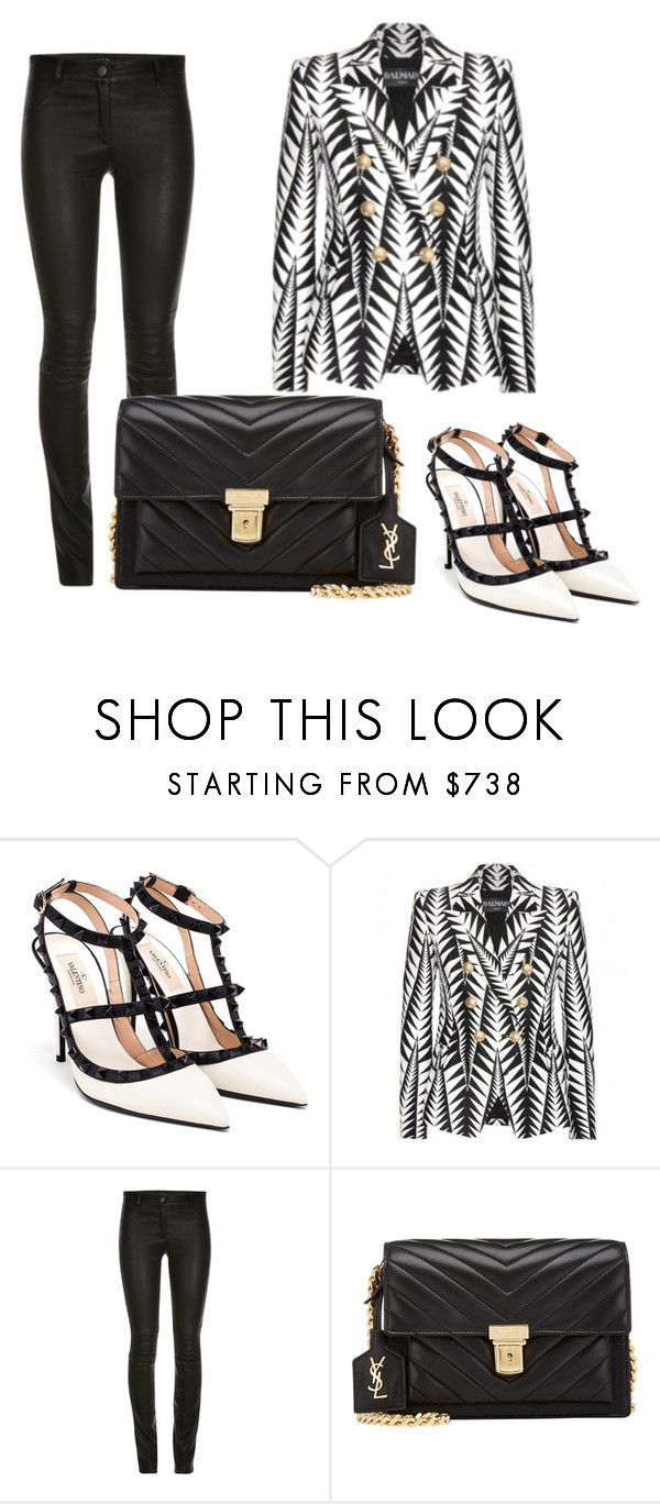 """black N white"" by kllykrzn ❤ liked on Polyvore featuring Valentino, Balmain and Yves Saint Laurent"