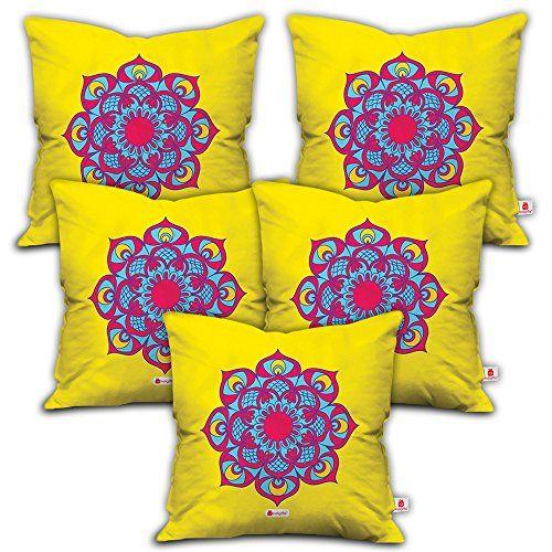 Best Indibni Colorful Flower Rangoli Design Yellow 12X12 Set Of 400 x 300