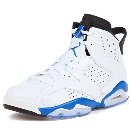 size 40 da254 1c413 Jordan Mens Air Jordan 6 Retro White Sport Blue Leather basketball-shoes  Size 13