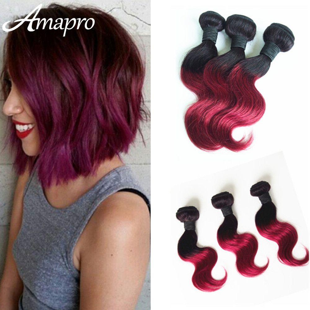 منتجات الشعر Amapro ثلاثة قطعة عنابي البرازيلي الجسم موجة الشعر القصير أومبير 1b عنابي 1b 27 1b 30 اللون Weave Hairstyles Brazilian Hair Short Hair Styles