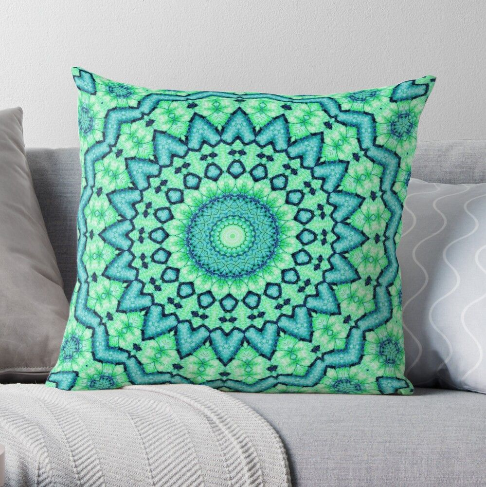 Mandala of the 4th chakra: Knowledge, the mental, integrity, power, seriousness, generosity, health, healing, freshness, cleanliness. #throwpillows #homedecor #mandalapillow #cr6zym1nd #bohopillow #findyourthing