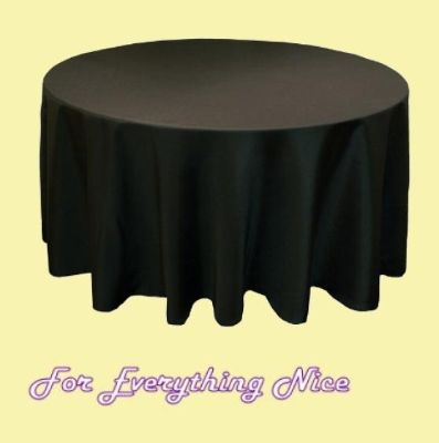 Black Polyester Round Tablecloth Decorations 90 inches x 1   foreverythinggenealogy.openstores.com.au