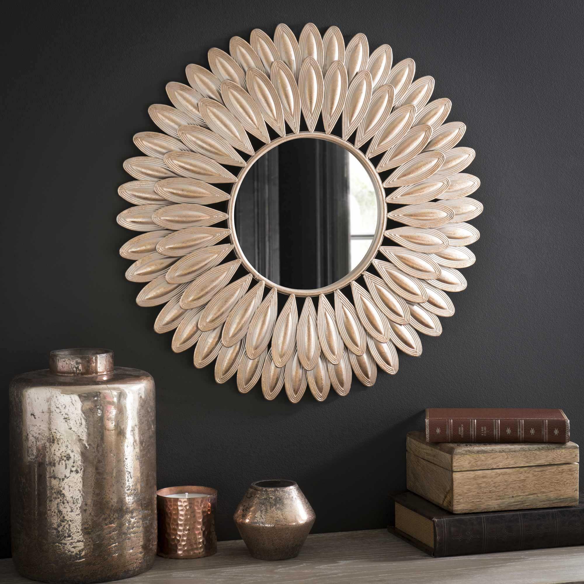 Miroir rond en m tal d 51 cm swahili deco pinterest for Miroir soleil cuivre