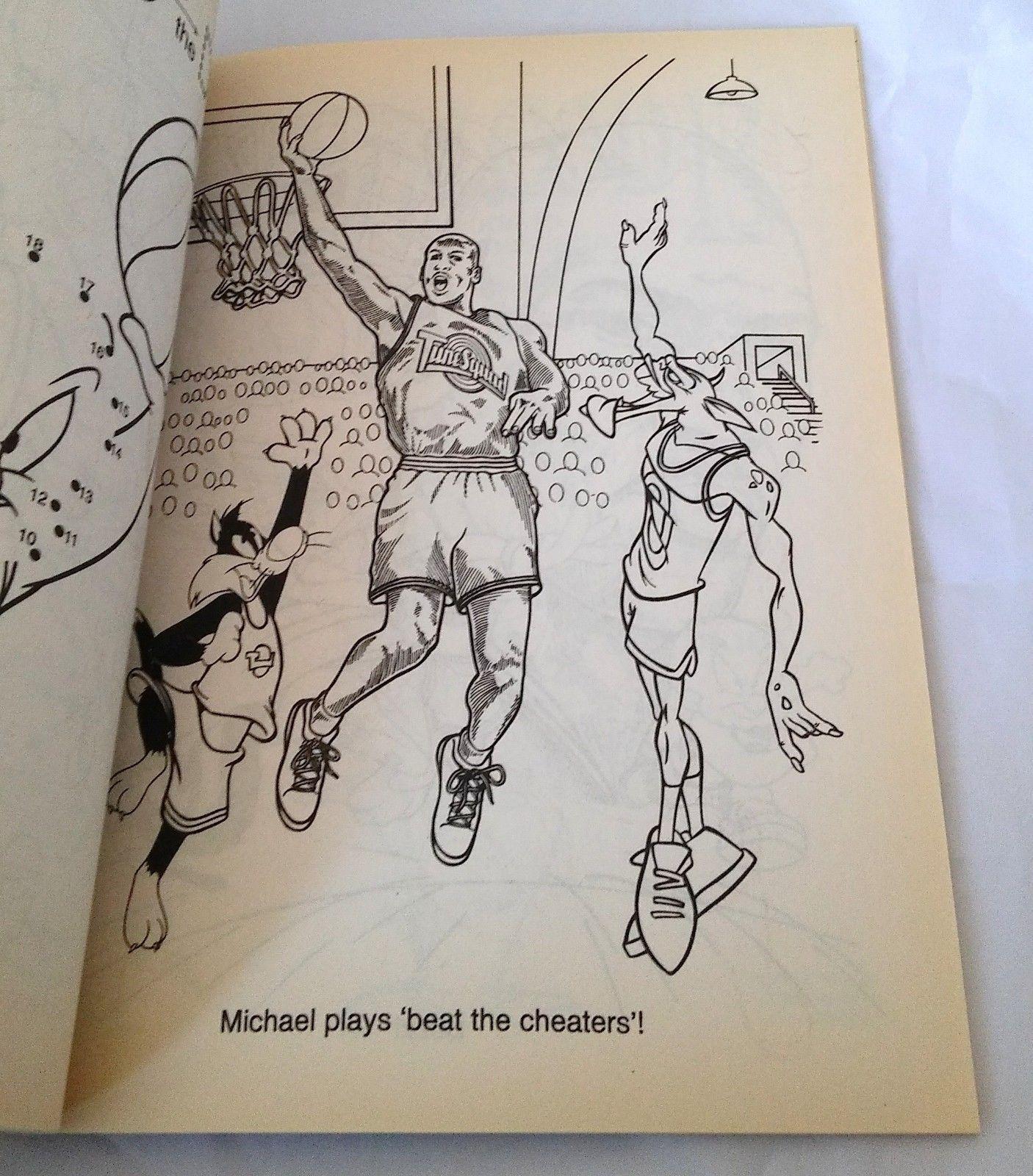 b33732c7456 Vintage Space Jam Jumbo Coloring Activity Book Looney Tunes Michael Jordan  1996 87577050706