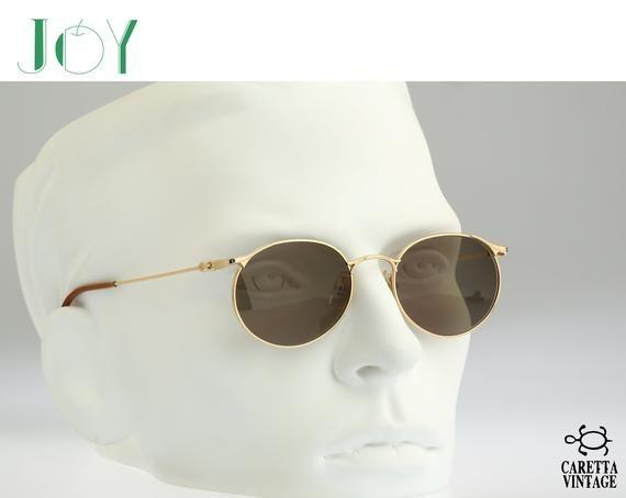 Gold round sunglasses men, Joy J-704, Vintage 90s unique victorian small panto sunglasses women NOS