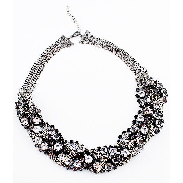 Fashionable Mix Style Crystal Full Rhinestone Chain Necklace ($11) ❤ liked on Polyvore