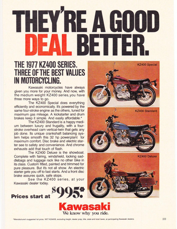 1977 Kawasaki KZ400 Motorcycle Ad