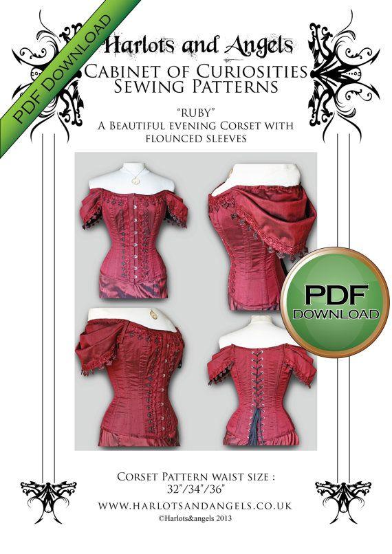Ruby Victorian Steampunk Corset Pattern. by Harlotsandangels ...