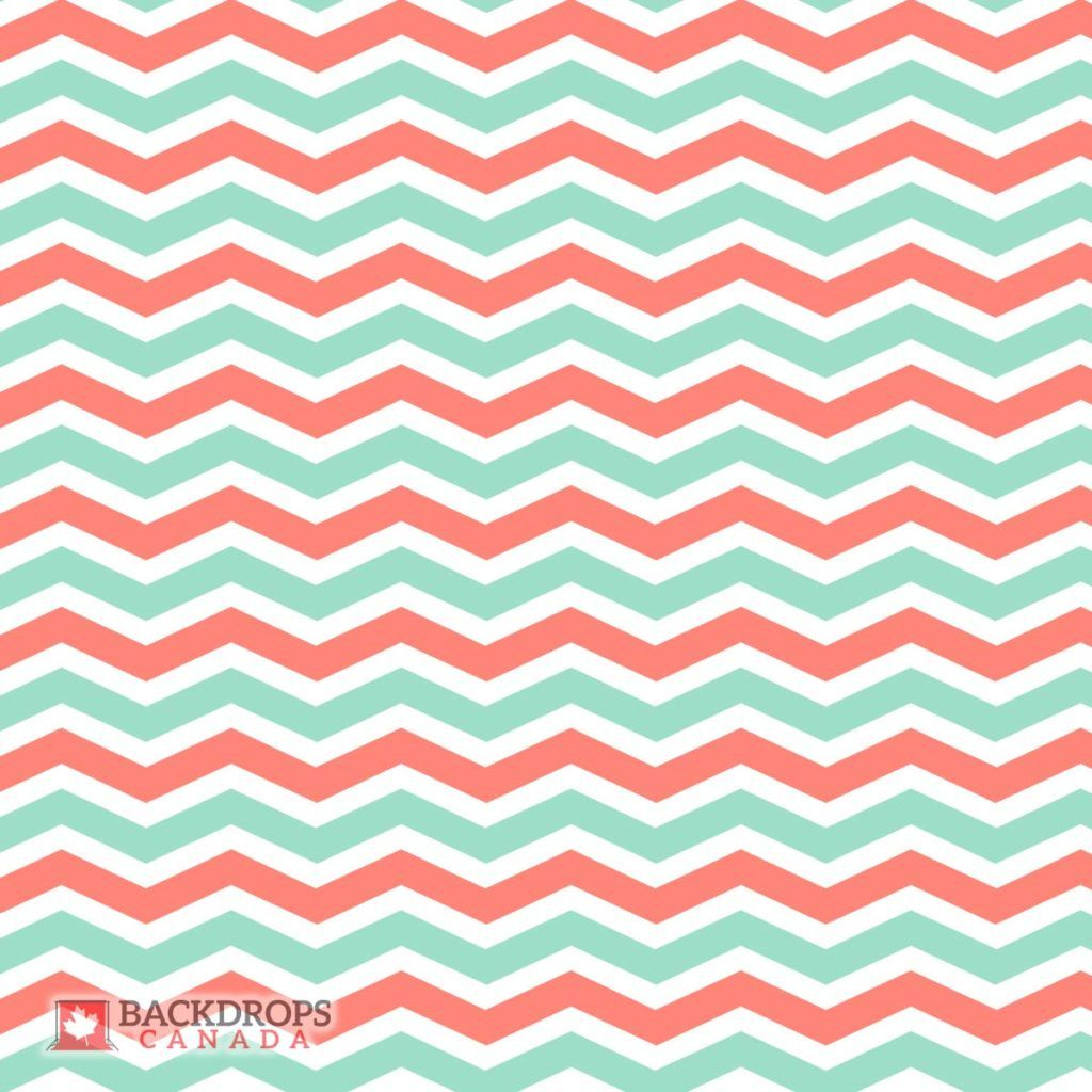 A coral & mint chevron background. Order online at www.backdropscanada.ca