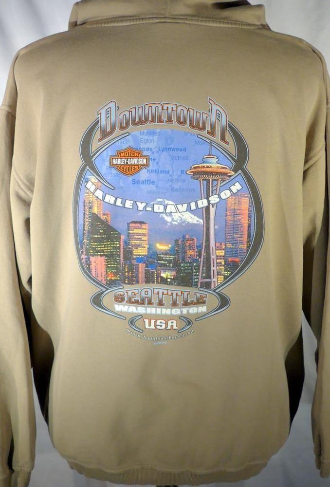 Harley Davidson Seattle >> Harley Davidson Size M Hooded Sweatshirt Hoodie Downtown