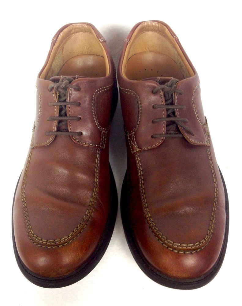 Clarks shoes mens brown leather oxfords 95 brown