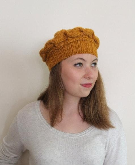 6ff25405ac50b Mustard Winter Hat, French Beret, Chunky Beanie, Slouchy Hat, Christmas  Gift, Ski Hat, Winter Access