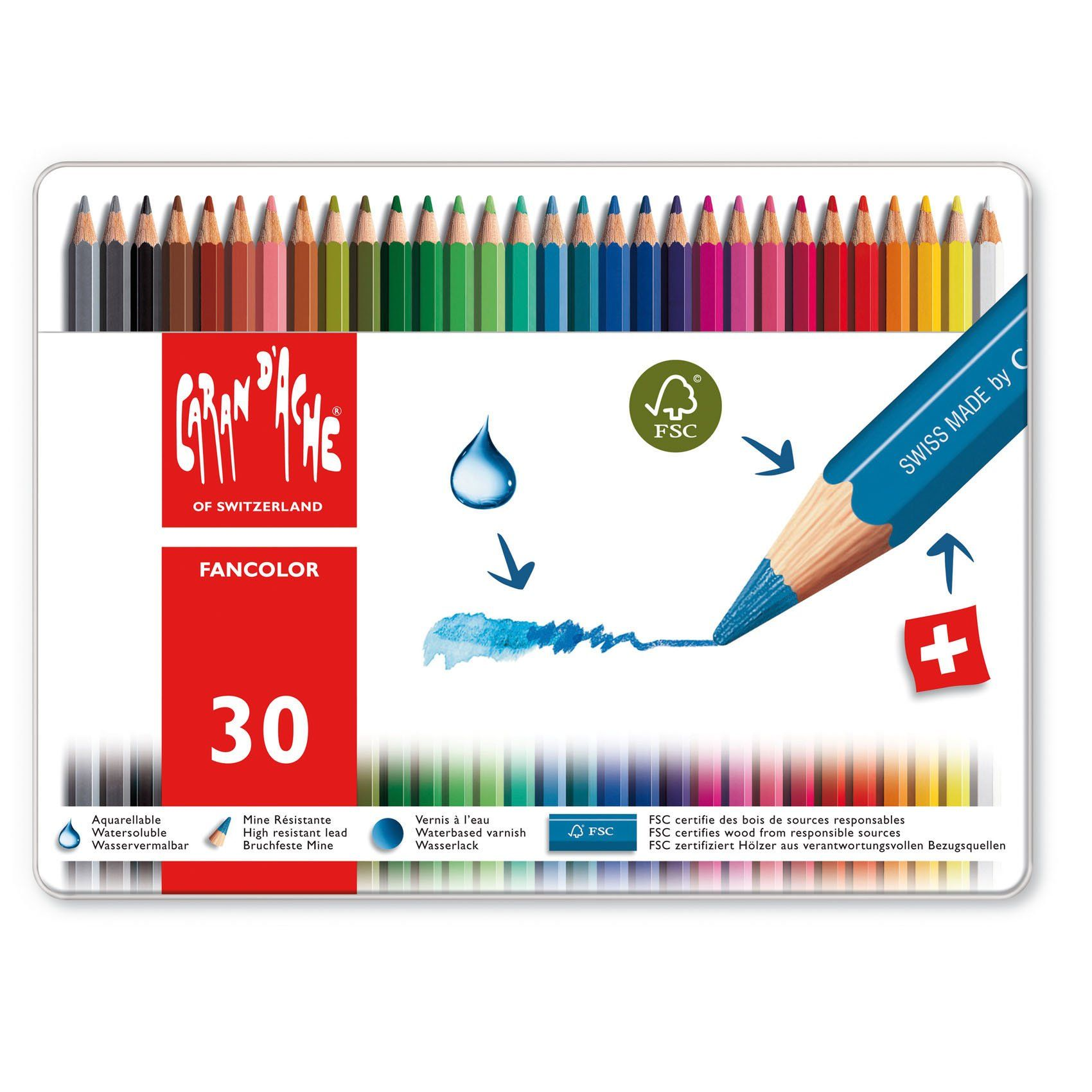 Caran D Ache Fancolor Watercolor Pencil Set Of 30 Colored
