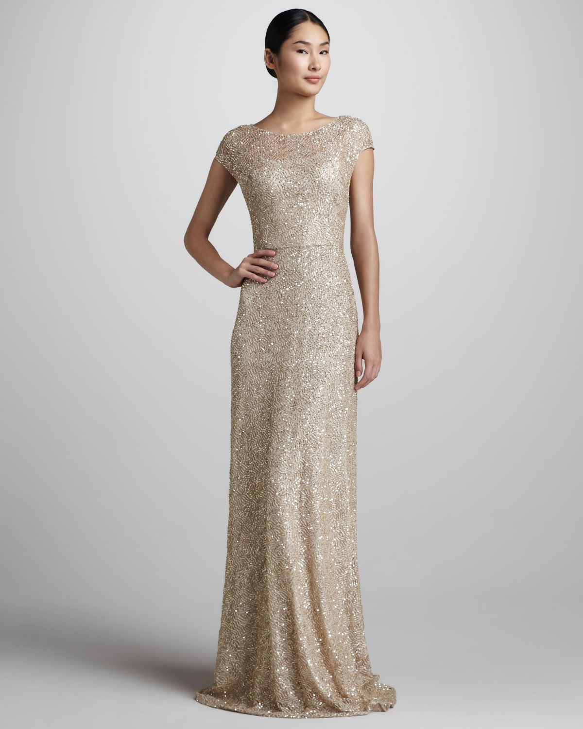 Sequined capsleeve gown david meister signature flash sparkle