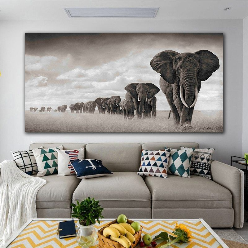 Black And White Elephant Queuemodern Canvas Painting Nordic Posters And Prints Decoration Art Wall Picture For Living Room Elephant Wall Art Modern Canvas Painting Horse Wall Art Canvases Elephant decor for living room