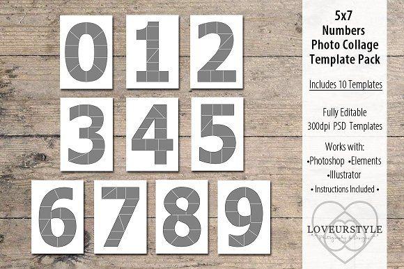 5x7 Number Photo Card Templates Card templates
