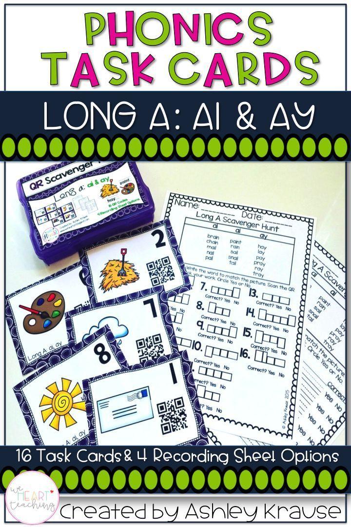 QR Code Task Cards: Long A
