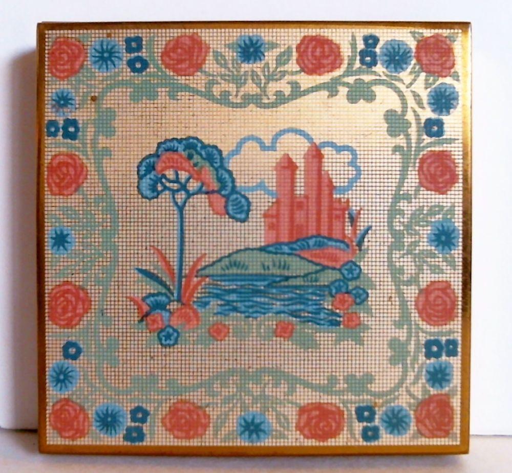 Unique Compact Company Powder Compact Signed Puff Castle Floral Grid Design  #Unique