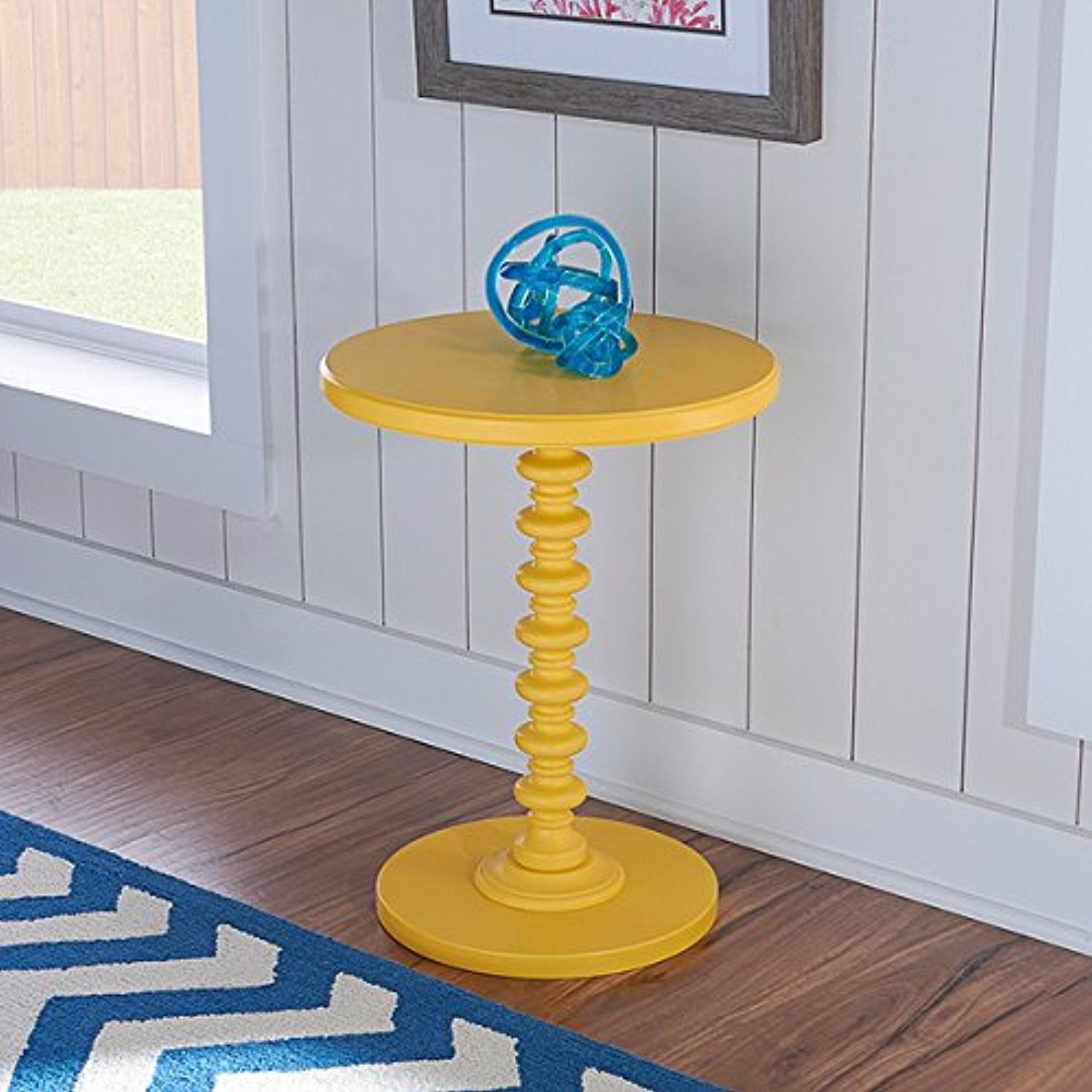 Oh! Home Seaside Yellow Round Spindle Table OS2615    Awesome Products  Selected By Anna