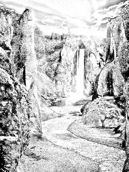 Kleurplaten Waterval.Waterval Zwart Wit Kleurplaten Black And White