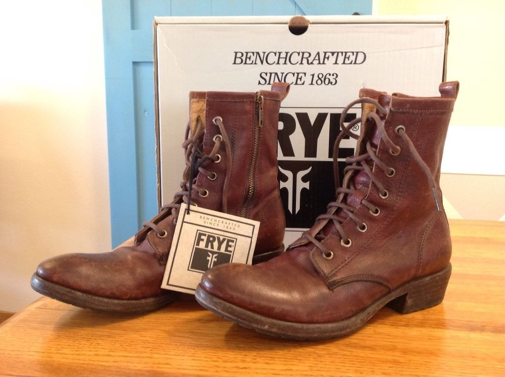 727e5f09b1d3f FRYE Sale $115 Carson Lug Lace Up Combat Boot 7.5 distressed Dark Brown in  box Retail $298 #Frye #CombatBoots
