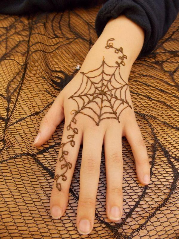 Halloween Spiderweb Henna Tattoo Designs Henna Designs Mehndi Designs