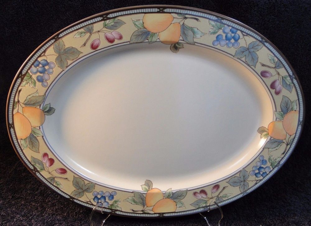 mikasa garden harvest. Mikasa Garden Harvest Intaglio Large Oval Platter CAC29 15\ C
