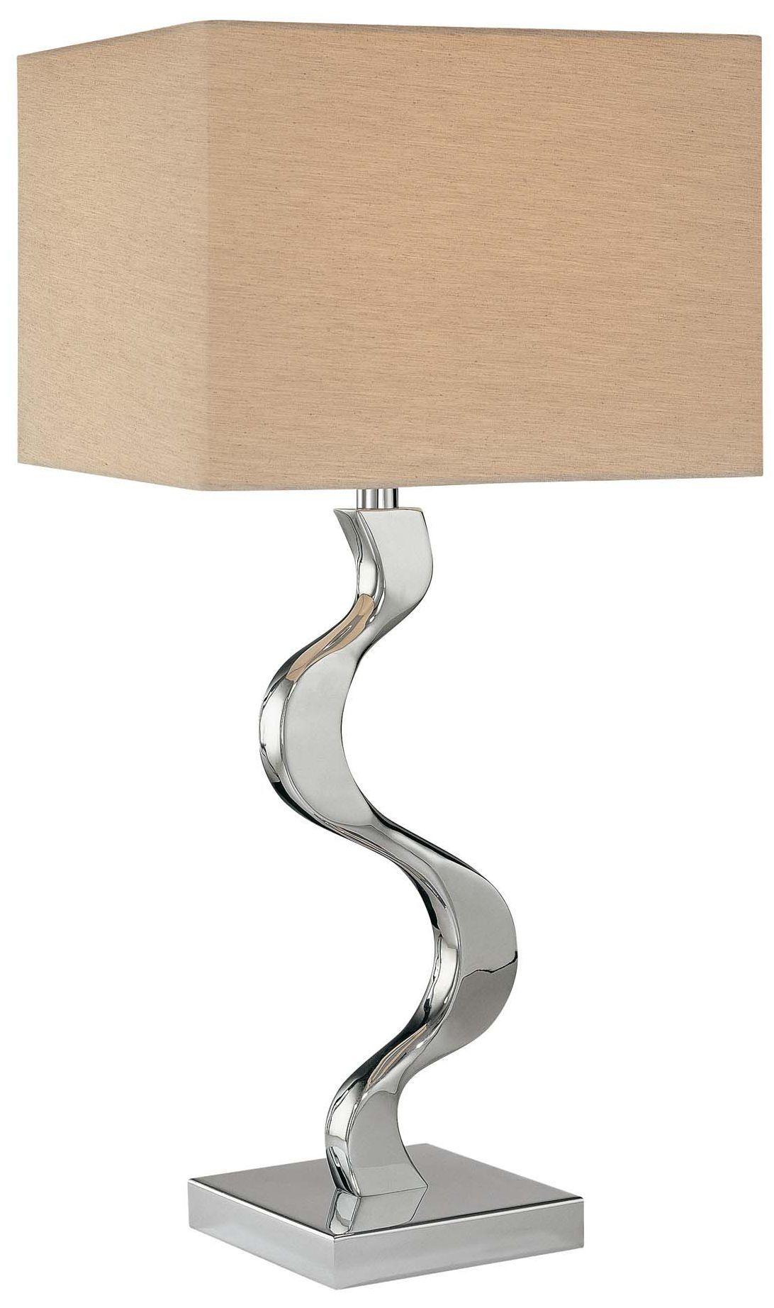Grey Cross Silk Shade George Kovacs Table Lamp Eurostylelighting Com Chrome Table Lamp Lamp Table Lamp