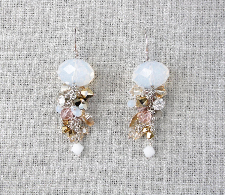 crystal garden earrings- rose/metallic/opal.