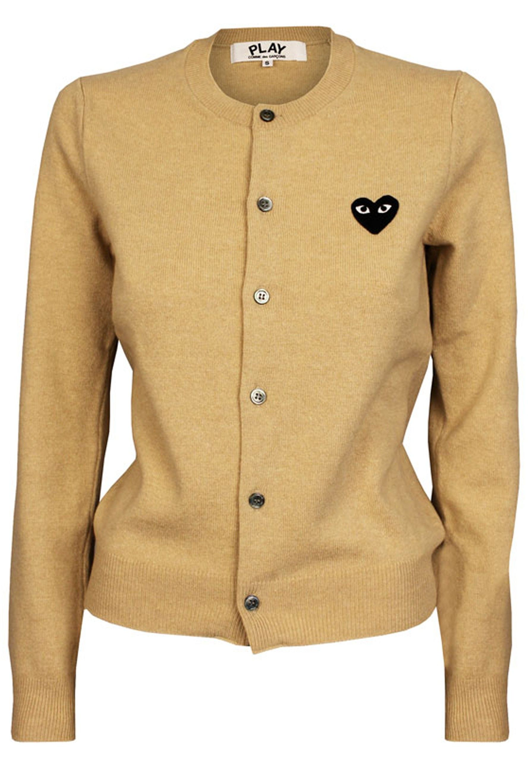 Ladies Comme Des Garcons PLAY Cardigan with black PLAY heart logo ...