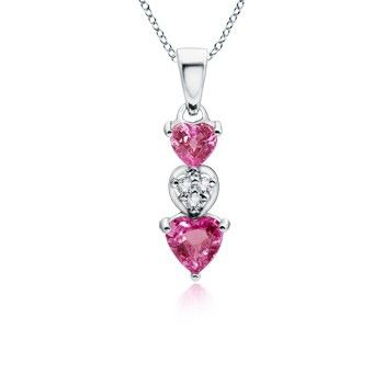 Angara Dangling Round Pink Tourmaline and Diamond Halo Pendant in White Gold