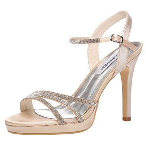 Womens Open Toe Heels Ankle Strap Buckle Rhinestones Satin Formal Prom Evening Slingback Sandals