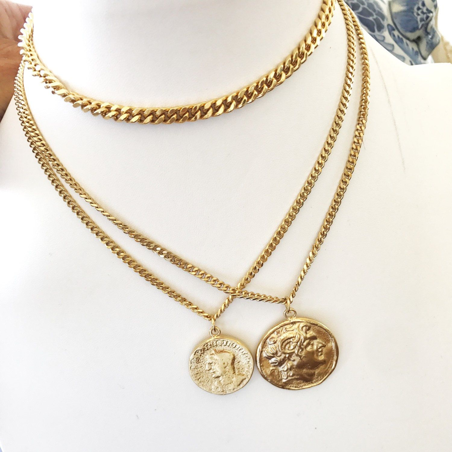 coin necklacegold gold fullxfull medallion long mary chain madonna il virgin necklace p
