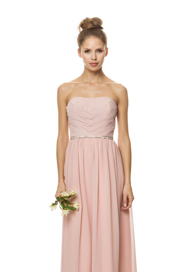 2015 Strapless Fitted And Ruched Bodice A Line Bridesmaid Dress ...