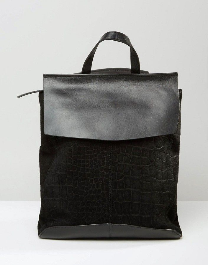 Asos Soft Leather And Suede Croc Embossed Backpack Bags