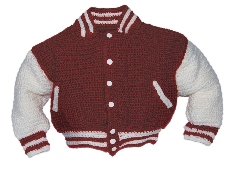 Baby Boy Crochet Pattern, Baseball Jacket Crochet Pattern, Modern ...