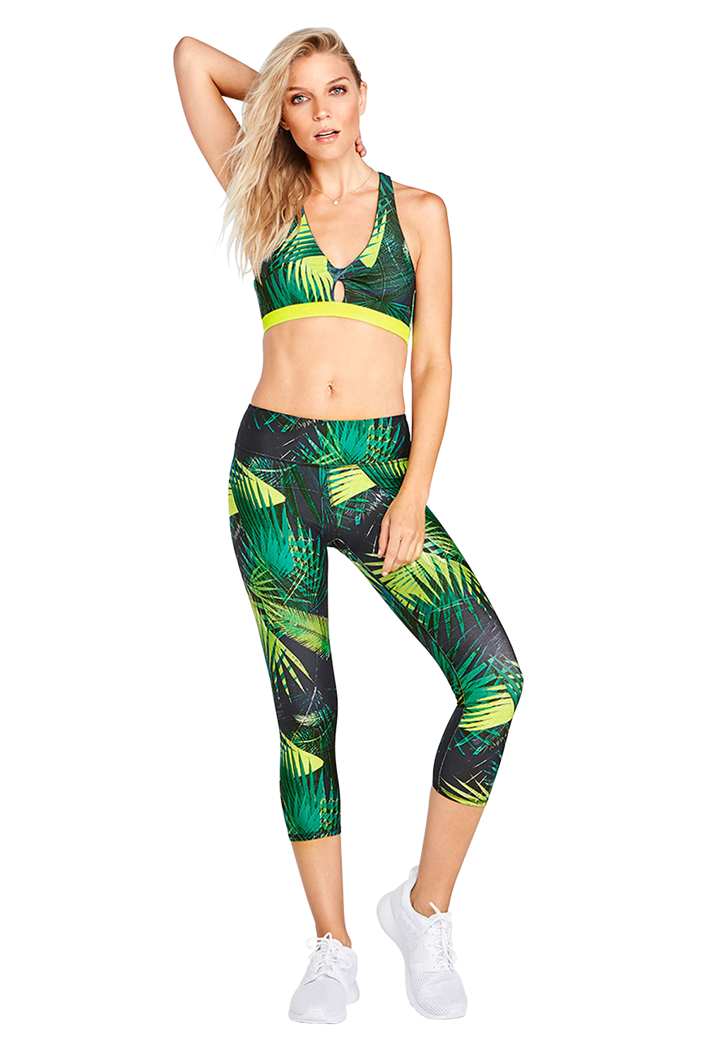 0a6ae3e766edc Built-in ventilation never looked better with our mesh-strap tank and  cutout bra. Pair it with our palm print leggings to fight sweat on contact.