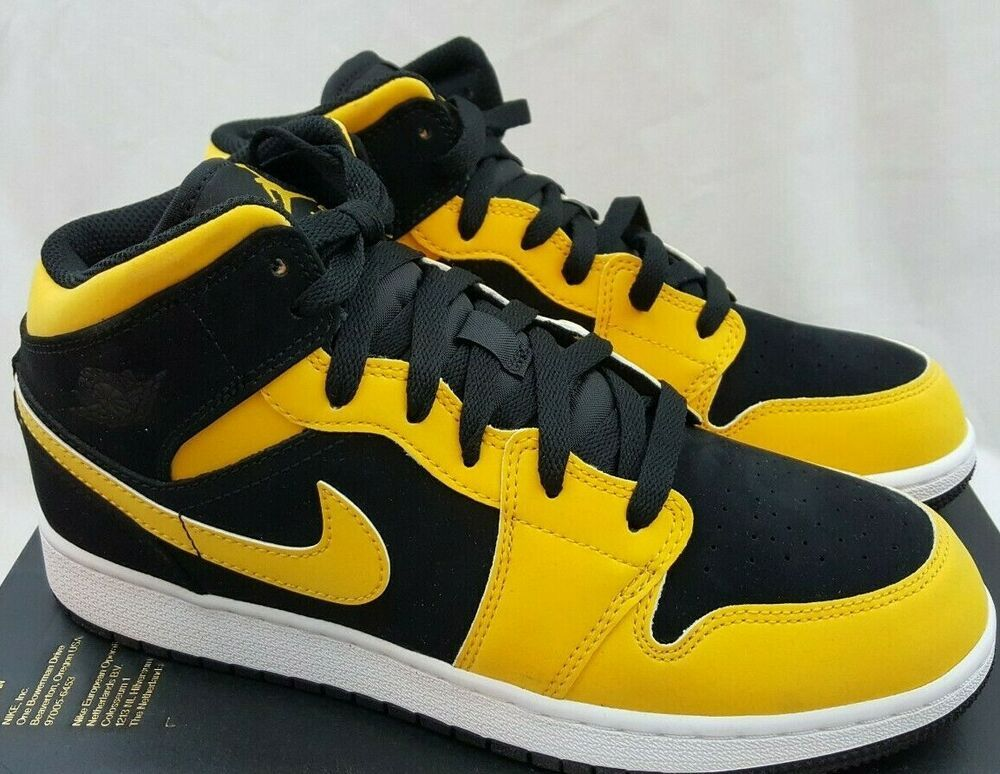 check out 420da 0e4e9 Nike Air Jordan Retro 1 Mid GS Reverse New Love Black Yellow ...