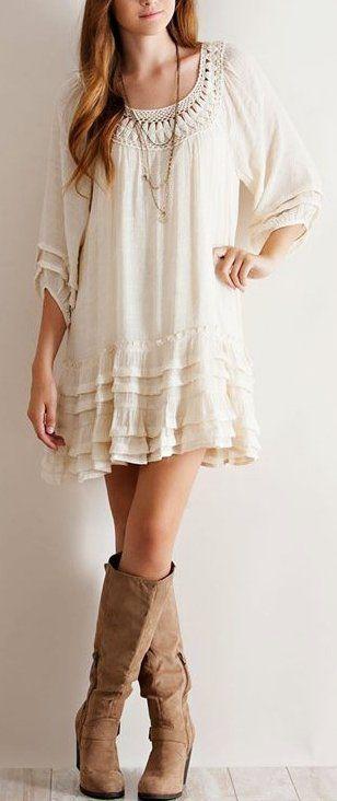 Vestido blanco estilo boho