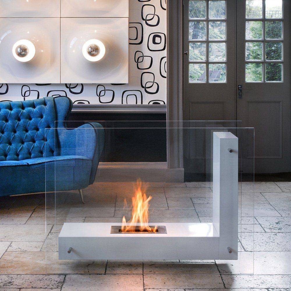 Alma XL Bio Ethanol Fireplace White Steel And Glass