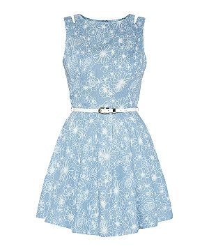Blue Pattern (Blue) Parisian Blue Denim Floral Print Cut Out Skater Dress | 307997449 | New Look