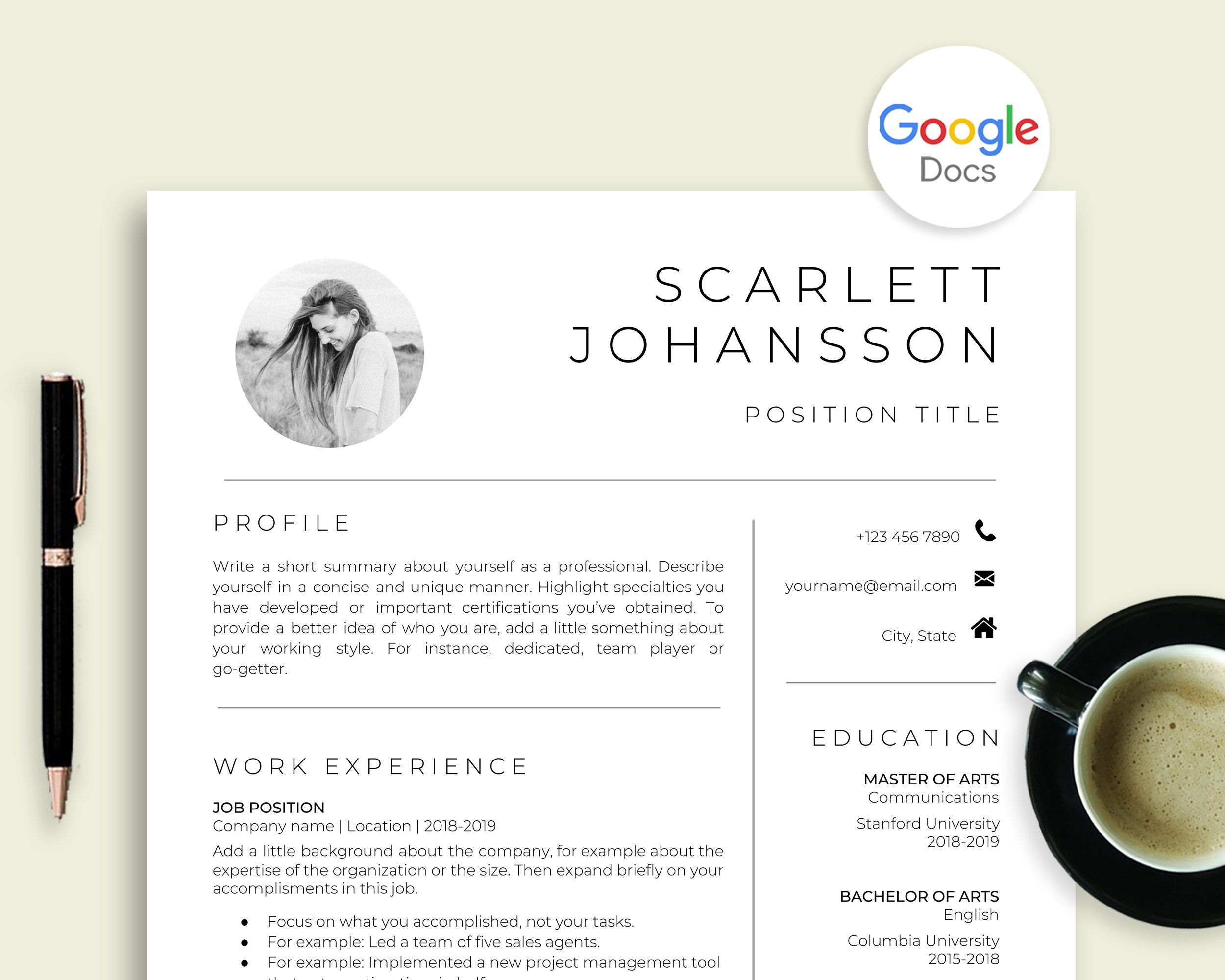 Google Docs Resume Template with Picture, Photo Resume