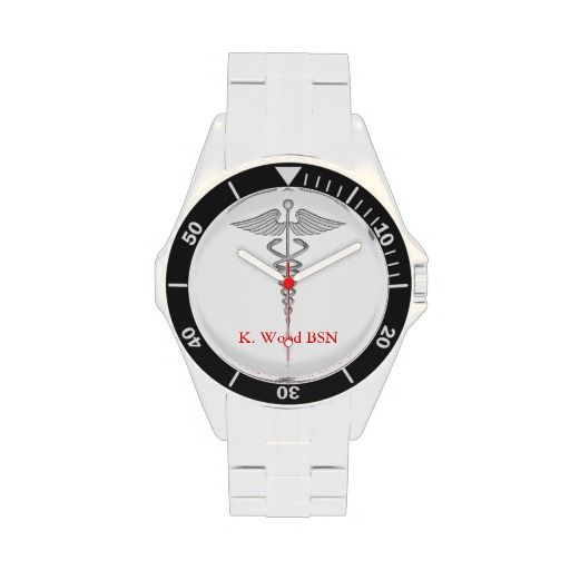 Nursing Caduceus Personalized Wrist Watches   Click on photo to purchase. Check out all current coupon offers and save! http://www.zazzle.com/coupons?rf=238785193994622463&tc=pin