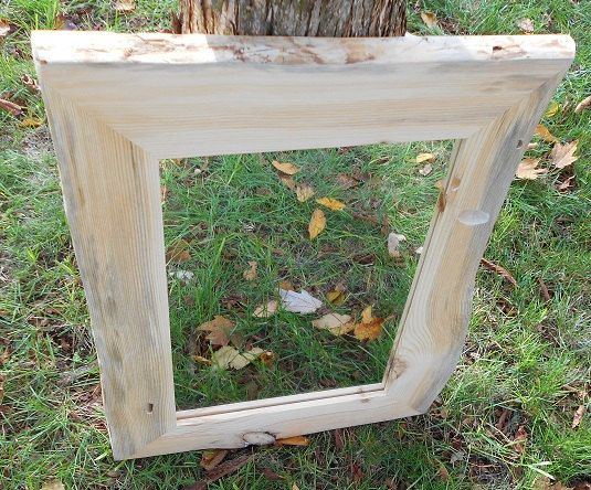 Cottage Mirror Frame & Mirror -- Rustic Red Pine Frame with ...