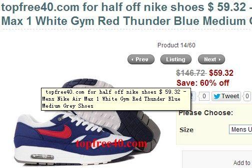 nike air max 1 thunder blue gym red blanc