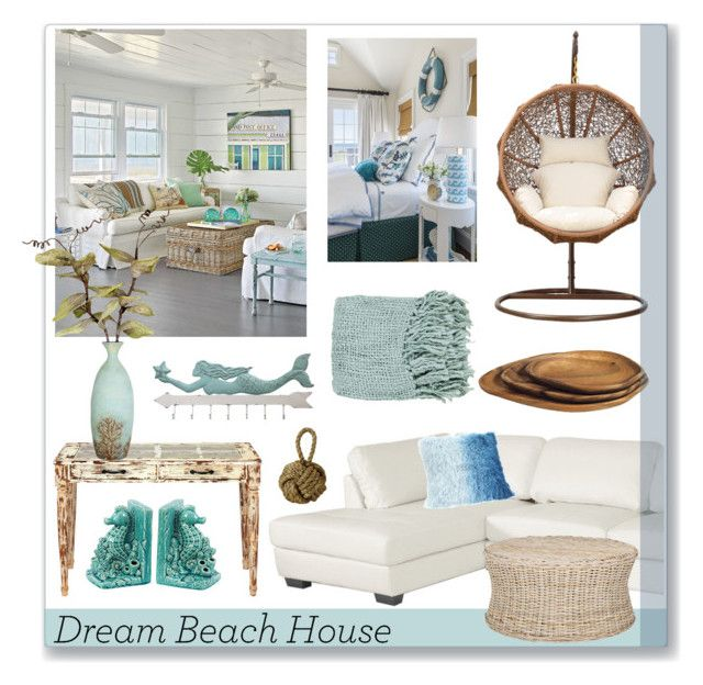 """#dreambeachhouse"" by hellodollface ❤ liked on Polyvore featuring interior, interiors, interior design, home, home decor, interior decorating, Dot & Bo and dreambeachhouse"