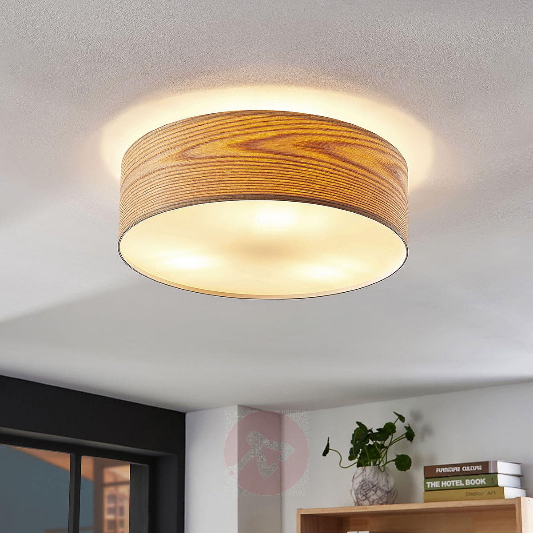 Holz Deckenleuchte Dominic In Runder Form Wohnzimmerlampe Decke Flur Beleuchtung Decke Beleuchtung Decke